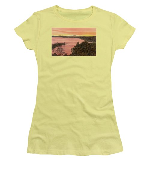 Women's T-Shirt (Athletic Fit) featuring the painting Cherokee Lake - Golden Glow by Joel Deutsch