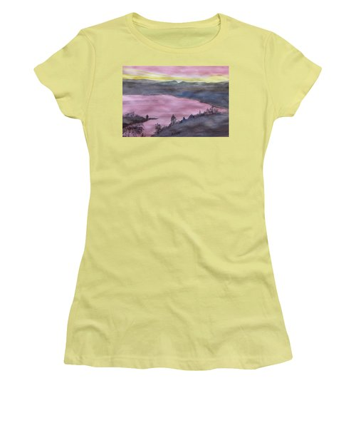 Women's T-Shirt (Athletic Fit) featuring the painting Cherokee Lake - Watercolor Sketch  by Joel Deutsch