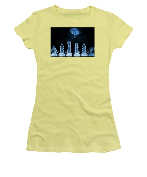 Chess Game And Human Brain Women's T-Shirt (Athletic Fit)