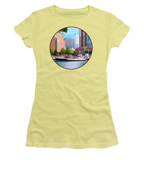 Chicago Il - Chicago River Near Centennial Fountain Women's T-Shirt (Athletic Fit)