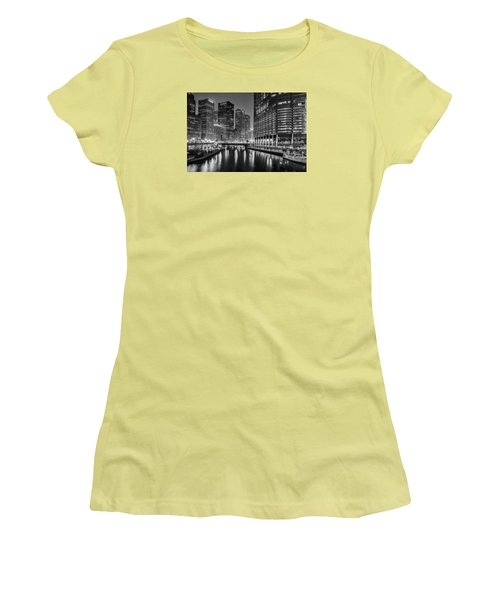 Chicago River View At Night Women's T-Shirt (Junior Cut) by Andrew Soundarajan