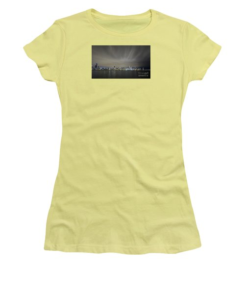 Women's T-Shirt (Junior Cut) featuring the photograph Chicago Skyline At Night by Keith Kapple