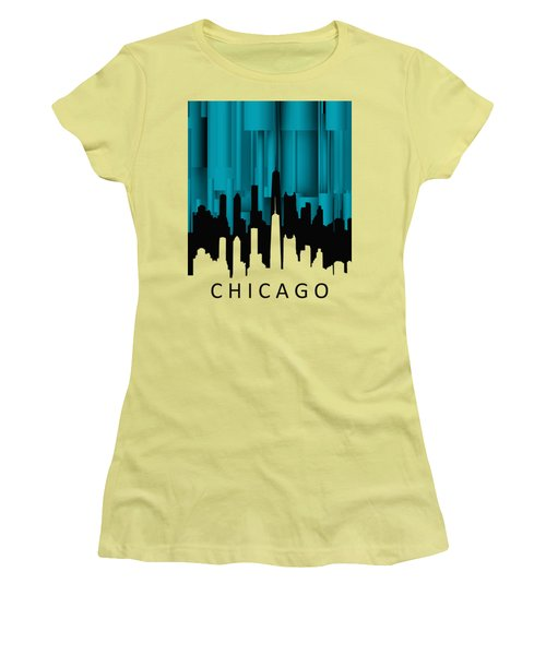 Chicago Turqoise Vertical Women's T-Shirt (Athletic Fit)