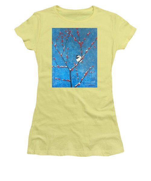Women's T-Shirt (Athletic Fit) featuring the painting Chickadee Bird by Denise Tomasura