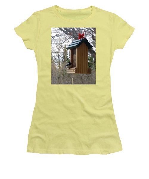 Chickadee Women's T-Shirt (Junior Cut) by Wendy Shoults