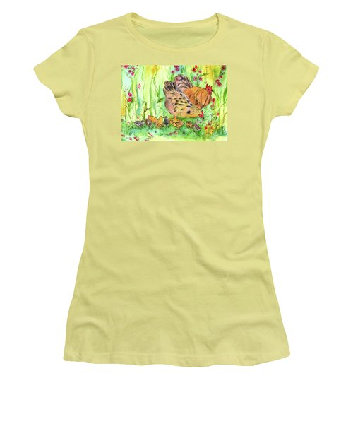 Women's T-Shirt (Junior Cut) featuring the painting Chicken Family by Cathie Richardson