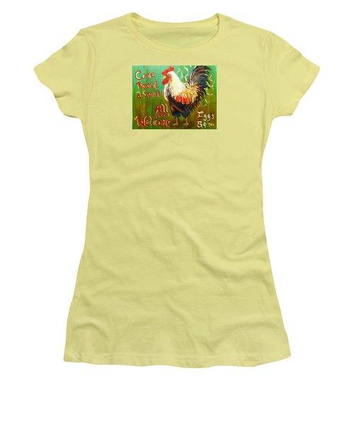 Chicken Welcome 3 Women's T-Shirt (Junior Cut) by Belinda Lawson