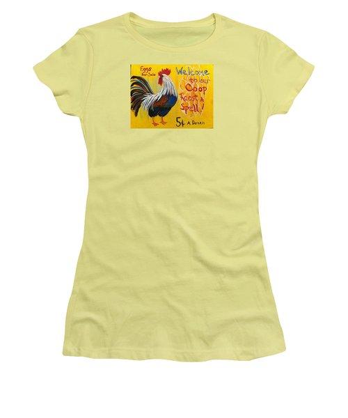 Chicken Welcome Sign 7 Women's T-Shirt (Junior Cut) by Belinda Lawson
