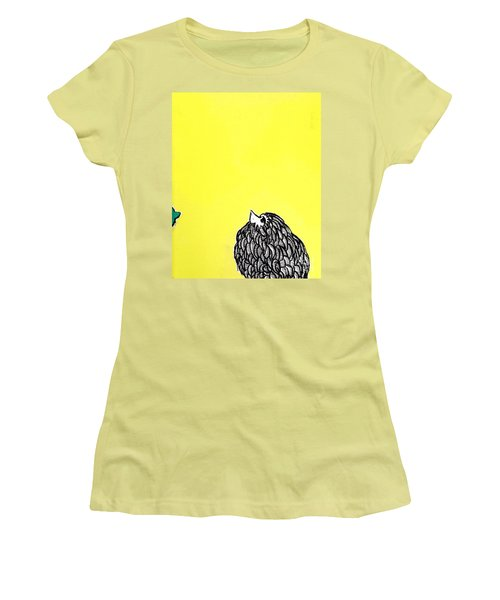 Women's T-Shirt (Junior Cut) featuring the painting Chickens Four by Jason Tricktop Matthews