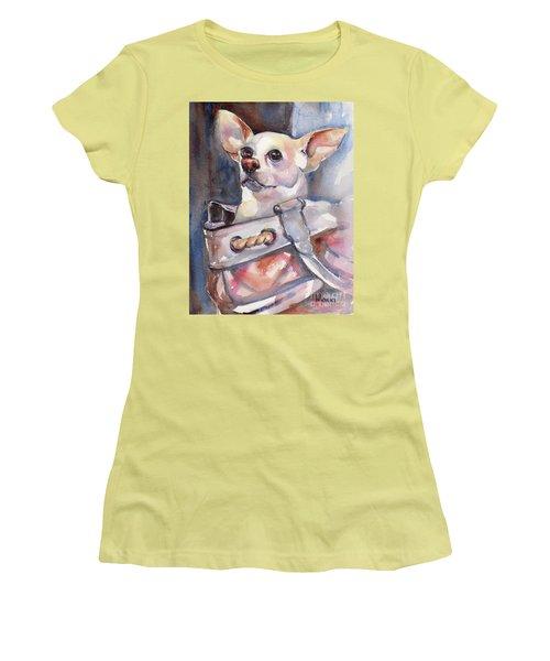 Chihuahua Women's T-Shirt (Junior Cut) by Maria's Watercolor