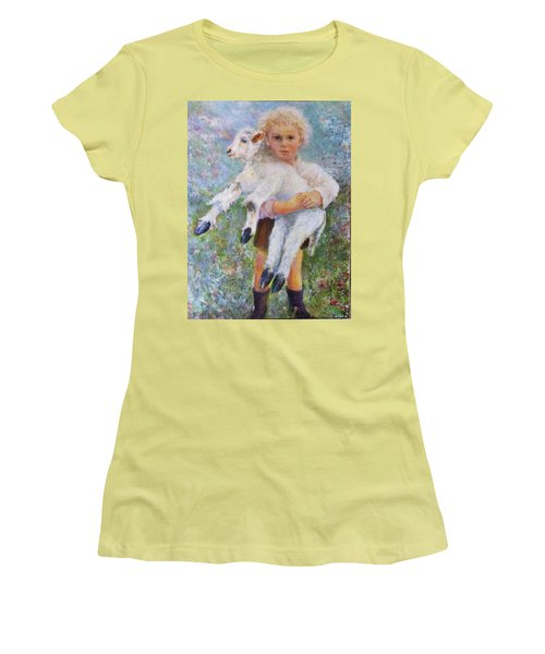 Child With A Lamb Women's T-Shirt (Athletic Fit)