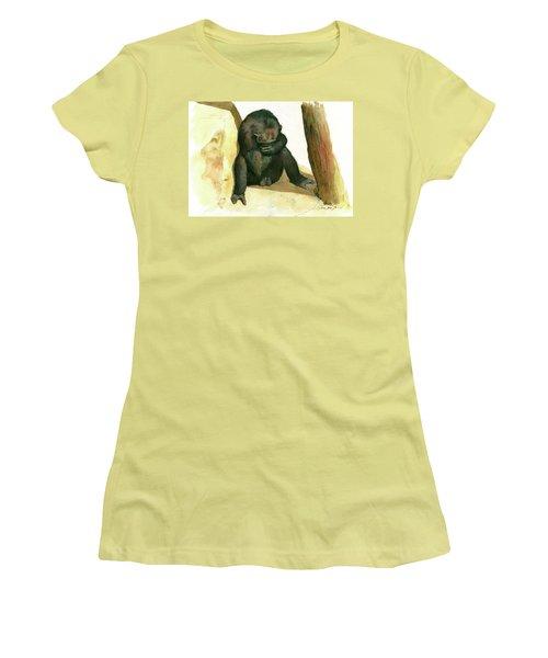 Chimp Women's T-Shirt (Junior Cut) by Juan Bosco