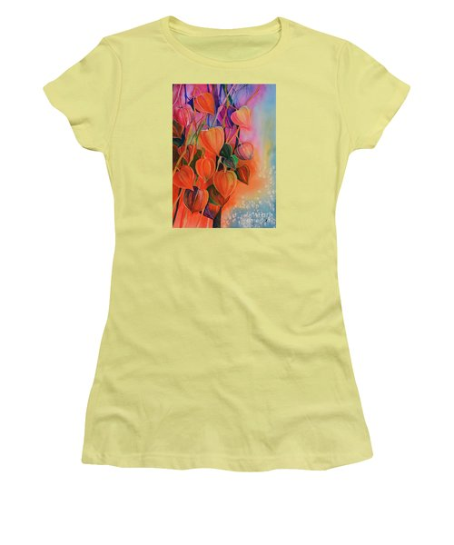 Chinese Lanterns Women's T-Shirt (Junior Cut) by Zaira Dzhaubaeva