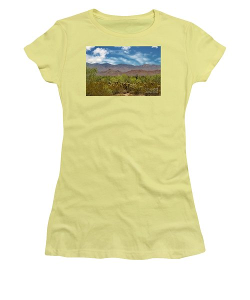 Cholla Saguaro And The Mountains Women's T-Shirt (Junior Cut) by Anne Rodkin
