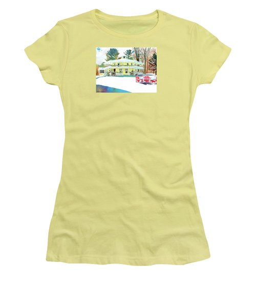 Christmas At The Hexagon House Women's T-Shirt (Junior Cut) by LeAnne Sowa