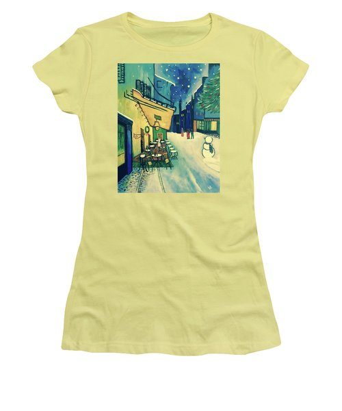 Christmas Homage To Vangogh Women's T-Shirt (Junior Cut) by Victoria Lakes