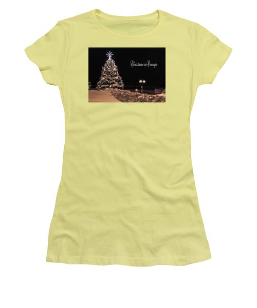 Women's T-Shirt (Junior Cut) featuring the photograph Christmas In Oswego by Everet Regal