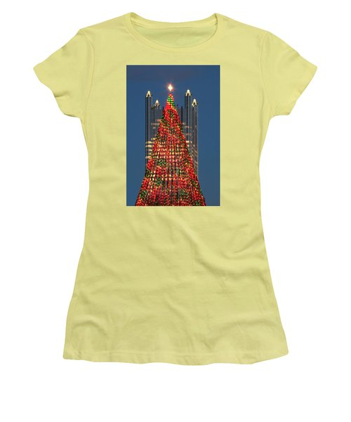 Women's T-Shirt (Junior Cut) featuring the photograph Christmas In Pittsburgh 2016  by Emmanuel Panagiotakis