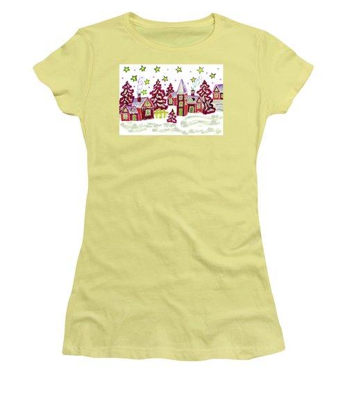 Christmas Picture In Red Women's T-Shirt (Junior Cut) by Irina Afonskaya