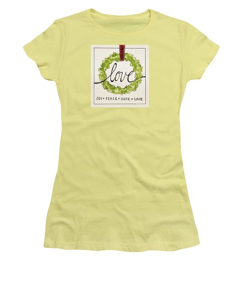Women's T-Shirt (Junior Cut) featuring the painting Christmas Wreath by Elizabeth Robinette Tyndall