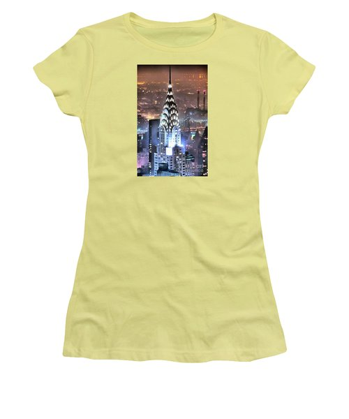 Chrysler Building At Night Women's T-Shirt (Junior Cut) by Mick Flynn
