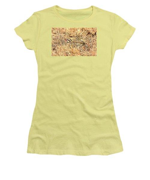 Women's T-Shirt (Junior Cut) featuring the photograph Chuckar Bird Hiding In Grass by Sheila Brown