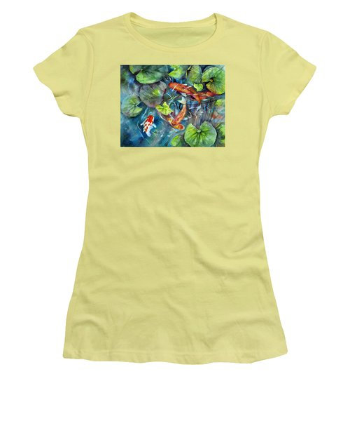 Women's T-Shirt (Junior Cut) featuring the painting Circle Of Koi by Mary McCullah