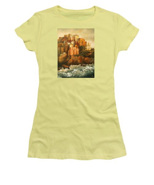Cinque Terre Lerici Italia Painting Women's T-Shirt (Athletic Fit)