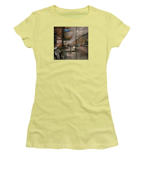 City - Amsterdam Ny -  Call 666 For Taxi 1941 Women's T-Shirt (Junior Cut) by Mike Savad