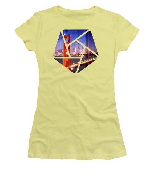 City Art Golden Gate Bridge Composing Women's T-Shirt (Athletic Fit)