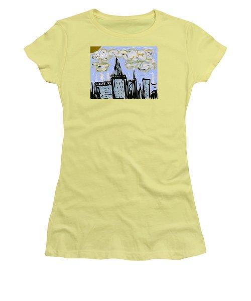 City In Blue Women's T-Shirt (Junior Cut) by Dan Twyman