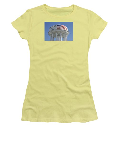 Women's T-Shirt (Junior Cut) featuring the photograph City Of Cocoa Water Tower by Bradford Martin