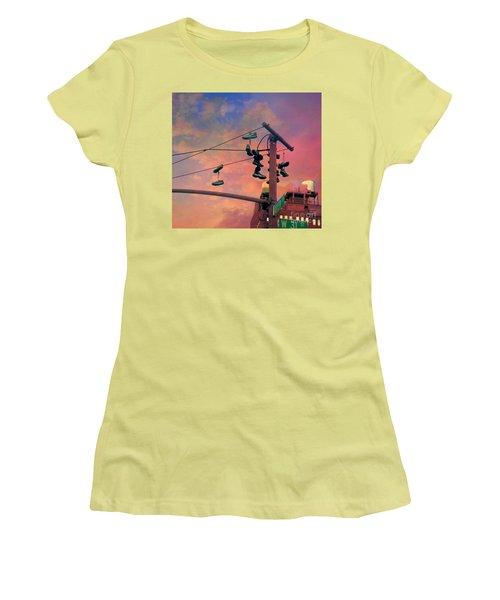 City Shoe Flinging Women's T-Shirt (Athletic Fit)