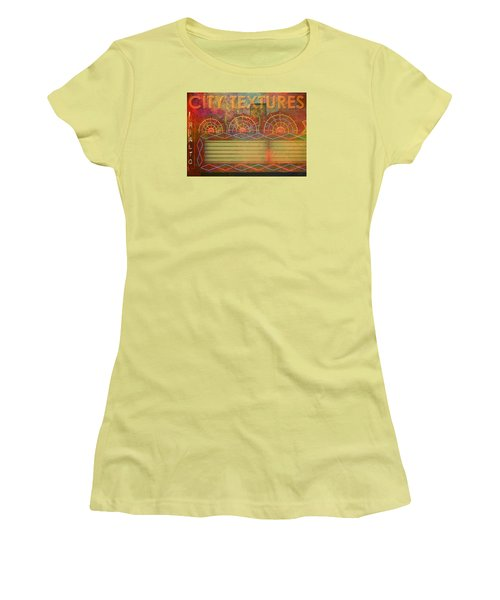 Women's T-Shirt (Junior Cut) featuring the mixed media City Textures Theater by John Fish