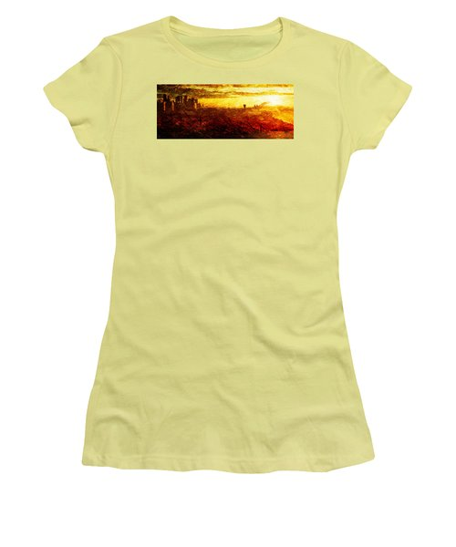 Cityscape Sunset Women's T-Shirt (Junior Cut) by Andrea Barbieri