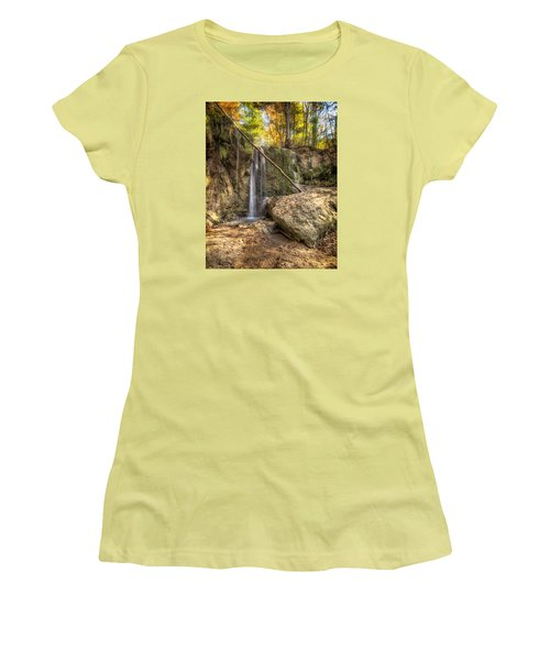Women's T-Shirt (Junior Cut) featuring the photograph Clark Creek Nature Area Waterfall No. 1 by Andy Crawford