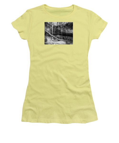 Clark Creek Nature Area Waterfall No. 2 In Black And White Women's T-Shirt (Junior Cut) by Andy Crawford
