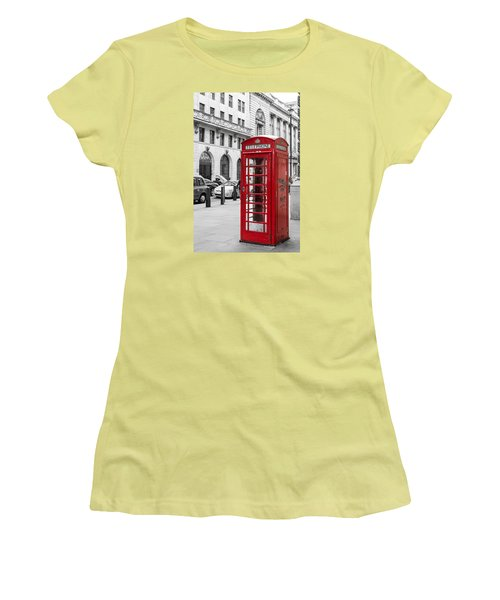 Red Telephone Box In London England Women's T-Shirt (Junior Cut) by John Williams