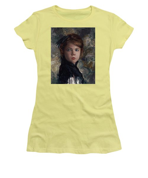 Women's T-Shirt (Junior Cut) featuring the painting Classical Portrait Of Young Girl In Victorian Dress by Karen Whitworth