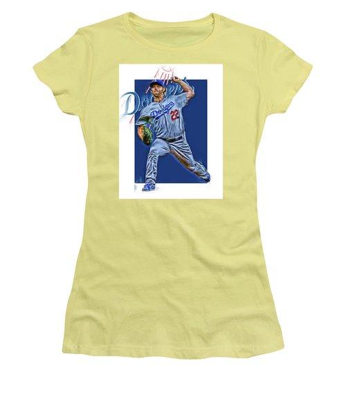 Clayton Kershaw Los Angeles Dodgers Oil Art Women's T-Shirt (Athletic Fit)