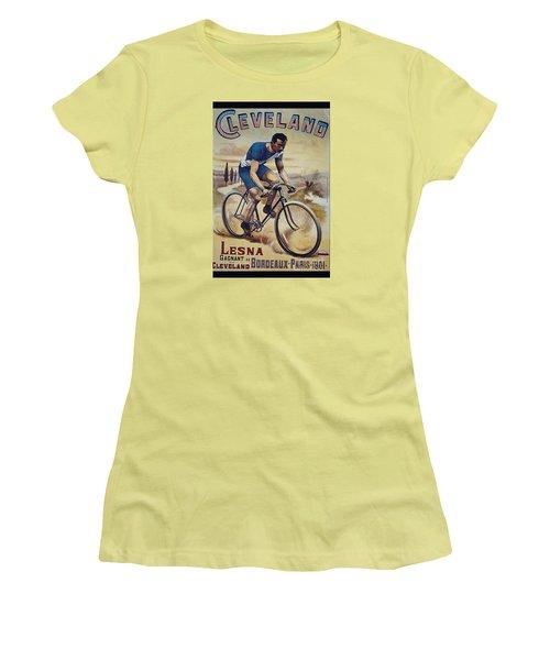Cleveland Lesna Cleveland Gagnant Bordeaux Paris 1901 Vintage Cycle Poster Women's T-Shirt (Junior Cut) by R Muirhead Art