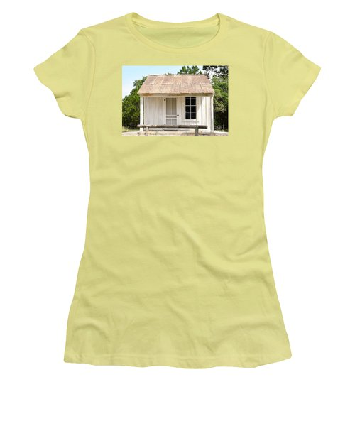 Women's T-Shirt (Junior Cut) featuring the photograph Clint's Cabin - Texas - Close-up by Ray Shrewsberry