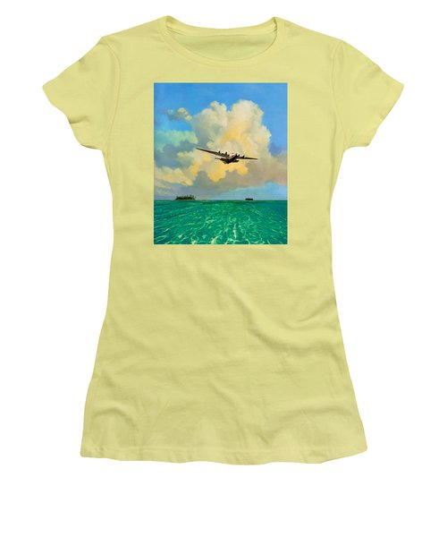 Women's T-Shirt (Junior Cut) featuring the painting Clipper Over The Islands by David  Van Hulst