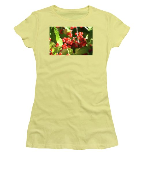 Close Up Of Red Berries Women's T-Shirt (Junior Cut) by Michele Wilson