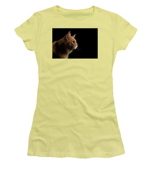 Close-up Portrait Ginger Maine Coon Cat Isolated On Black Background Women's T-Shirt (Athletic Fit)