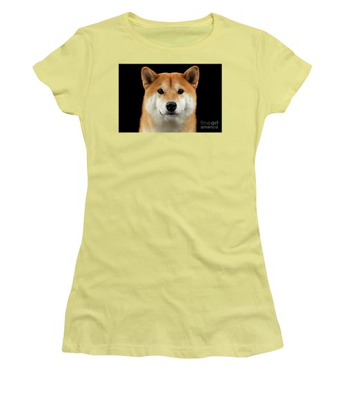 Close-up Portrait Of Head Shiba Inu Dog, Isolated Black Background Women's T-Shirt (Athletic Fit)