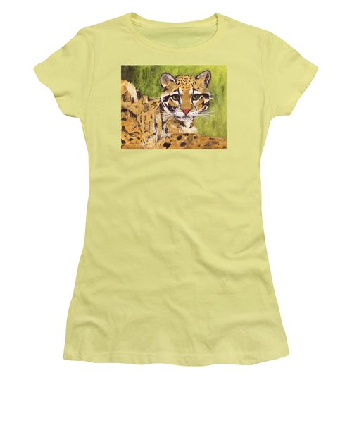Women's T-Shirt (Athletic Fit) featuring the painting Clouded Cat by Jamie Frier