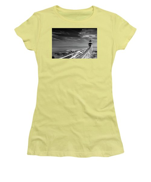 Women's T-Shirt (Junior Cut) featuring the photograph Clouds Over Marshall Point Lighthouse In Maine by Ranjay Mitra