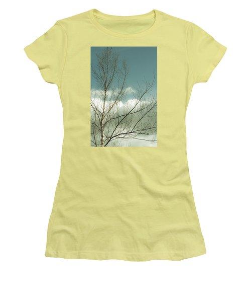 Cloudy Blue Sky Through Tree Top No 1 Women's T-Shirt (Junior Cut) by Ben and Raisa Gertsberg