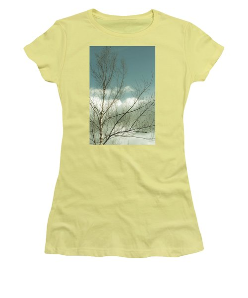 Women's T-Shirt (Junior Cut) featuring the photograph Cloudy Blue Sky Through Tree Top No 1 by Ben and Raisa Gertsberg